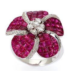 Ruby and Diamond Accent Flower Ring :  flower 18k white gold white