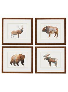 L'ens. de 4 tableaux animaux sauvages 13,5x17,5 pouces | Simons
