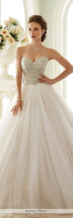 Sophia Tolli Fall 2016 Wedding Gown Collection - Style No. Y21663 Novella - tulle ball gown wedding dress with hand-beaded bodice