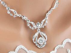 Bridal Necklace Wedding Necklace Crystal by goddessdesignsgems, $62.00