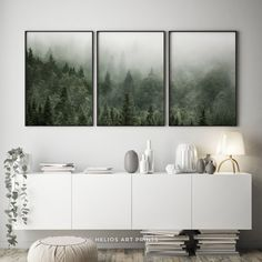 Set of three misty green forest landscape art prints. Set of 3 Watercolor Walls, Watercolor Landscape, Forest Landscape, Landscape Art, Misty Forest, Home Printers, Contemporary Wall Art, Wall Art Sets, Printable Wall Art