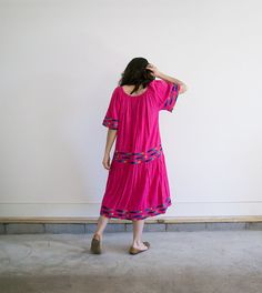 Bright Pink Mexican Dress / Vintage Boho Dress / by MyronStreet
