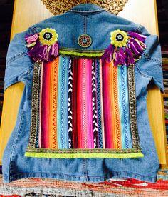 Reciclado de Funky & chaqueta denim adornados