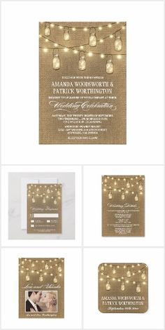 Country Burlap Mason Jar Wedding Invitations Set Products Features A Rustic Or Background With String Lights And Lighted Jars