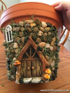 Here's how to make a sweetly whimsical DIY fairy house planter from a terra . Here's how to make a sweetly whimsical DIY fairy house planter from a terra cotta pot & other in Diy Fairy Garden, Fairy Garden Houses, Garden Crafts, Garden Projects, Garden Pots, Planter Garden, Fairies Garden, Diy Fairy House, Garden Benches