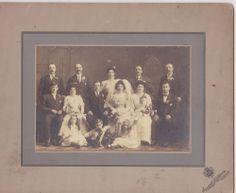 VINTAGE 6x4 WEDDING CABINET PHOTO #398 - BRIDE & GROOM and GROUP