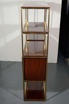 modernist etagere in walnut wood and brass by paul mccobb 6 paul