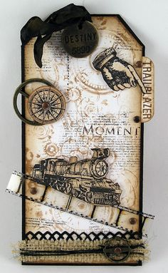 Suzz C - used the HA Art of the Card cling set called Past Times. Stamped the background with Watch Gears   using glimmer mist chalkboard ink. Added a few partial stamping of the Moments definition stamp. The rest of the images were stamped in black ink and cut out and pop dotted.