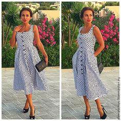 Купить Платье в горошек - белый, в горошек, платье вечернее, платье короткое, платье свободное