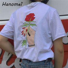 Embroidery Rose tshirt Women Couples Clothes T Shirt 2017 Summer Short Sleeve Female t-shirt harajuk Tops tee shirt femme C370