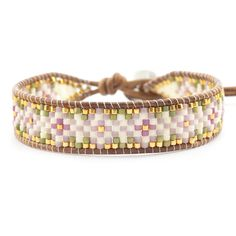"""Pink Mix Beaded Single Wrap Bracelet on Natural Brown Leather - Chan Luu. This Chan Luu cuff bracelet features a tribal inspired floral pattern of """"Pink Mix"""" colored seed beads delicately hand woven onto natural brown colored leather."""