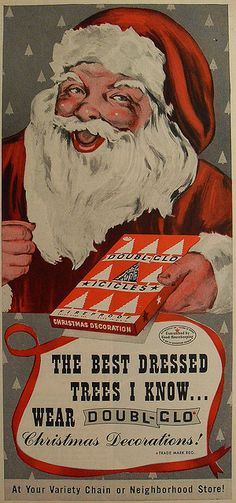 Vintage Christmas ad with Santa and icicles tinsel. Merry Christmas, Father Christmas, Christmas Love, Country Christmas, Christmas Christmas, Vintage Christmas Images, Vintage Holiday, Antique Christmas, Primitive Christmas
