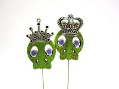 Green Sugar Skull Cake Toppers King Queen Day by sweetie2sweetie, $14.99