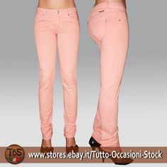Pantalone donna cotone elasticizzato made in Italy Skinny stretto salmone