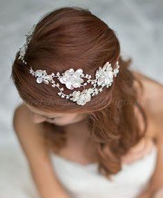 pearl and crystal flower headband