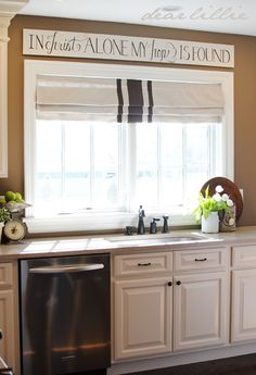 Window Treatment: Over the Sink Kitchen Curtains . - CLICK PIC for Lots of Kitchen Window Treatment Ideas. Kitchen Signs, Kitchen Decor, Kitchen Colors, Kitchen Ideas, Dear Lillie, Kitchen Window Treatments, Diy Décoration, Kitchen Curtains, Kitchen Windows