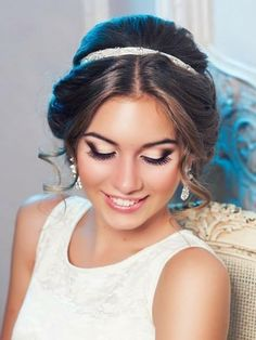 Centre parting updo head band curly brown 60s inspired wedding bridal style