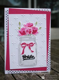 Stampin up, Glasklare Grüße, Einweckgläsder, Jar of love, Everyda jars Framelits Dies, Funkelsterne, Festlicher Geburtstag, Pink mit Pep, Pop of Pink, Festive Birthday, Sparkle