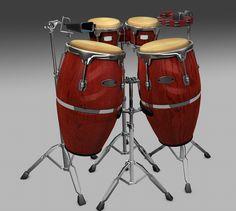 3D Model Of Bongos Congas Tambourine Cow - 3D Model