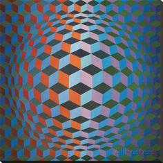 Squares Reproduction transférée sur toile par Victor Vasarely sur AllPosters.fr