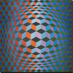 Squares Kunstdruk op gespannen doek van Victor Vasarely - bij AllPosters.be