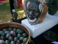 Stone carving African elder's face
