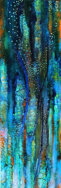 Mixed media canvas, Eternal Spring, crackle painting, vertical blue gold…