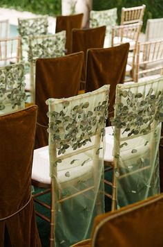 Lovely chair covers, mix of colours and materials for a wonderful wedding decoration Wedding Chair Decorations, Backdrop Decorations, Wedding Chairs, Backdrops, Wedding Planner New York, Enchanted Garden Wedding, Chair Ties, Event Decor, Event Ideas