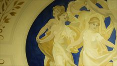 A close-up of Apollo and the muses Mural with laurel motifs in gold leaf detail Hand Painted Walls, Art Decor, Decoration, Luxury Decor, Hand Painting Art, Apollo, Gold Leaf, Sculpture, Detail