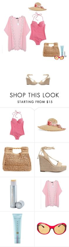 """""""Gingham for One"""" by polylana ❤ liked on Polyvore featuring J.Crew, Gucci, San Diego Hat Co., Michael Kors, Jane Iredale, Tatcha, Bulgari and onepieceswimsuit"""