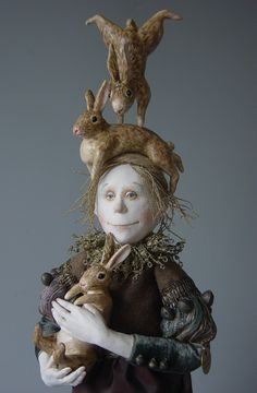 Marlaine Verhelst Taking care of rabbits - I absolutely love her dolls - a great talent