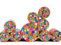 Colourful Rainbow unbaked polymer clay cane
