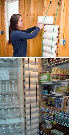 4 eye bolts and 2 bungee cords can help you get rid of the issue of storing paper towels #pantry