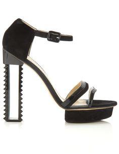 Black Transparent Strap Heels | Aperlai | cynthia reccord