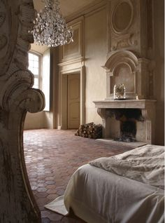 chateau de moissac, provence - bedroom to dream of, much less in. that fireplace, that chandelier, that architecture. Beautiful Bedrooms, Beautiful Homes, Inspiration Room, Muebles Shabby Chic, Haute Provence, Provence France, Provence Interior, Provence Style, Casa Patio