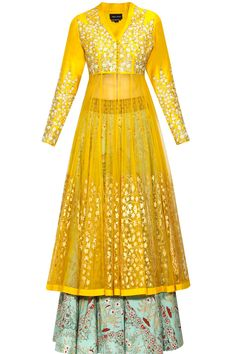 Yellow floral embroidered anarkali kurta and mint green lehenga set available only at Pernia's Pop Up Shop.