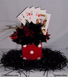 Casino centerpieces the famous roulette salon party supplies . casino centerpieces i usually put party Casino Themed Centerpieces, Casino Decorations, Balloon Centerpieces, Wedding Centerpieces, Centerpiece Ideas, Centerpiece Rentals, Wedding Favors, Wedding Reception, Wedding Decorations
