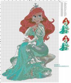 Schema punto croce principessa Ariel 150x210 39 colori.jpg