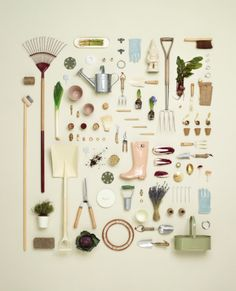 This beautiful image of gardening equipment makes me (and hopefully other) to want to go outside, and start cultivating.