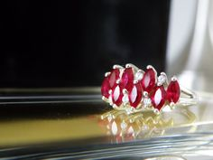 Ruby Red White Diamonique DQ Marquise Cut 2 Row Sterling Silver Ring SIGNED Sz 8 #Diamonique #Cluster #Anniversary
