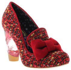 Irregular Choice Oz Red Tweed New Womens Hi Heel Court Shoes Boots