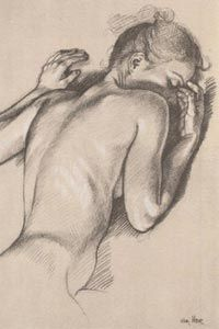 """Study for """"Earthly Paradise"""" by Francine Van Hove, sketch of discreet nude prone reclining woman back. Woman Drawing, Life Drawing, Drawing Sketches, Painting & Drawing, Art Drawings, Sketching, Framing Canvas Art, Human Sketch, Figure Drawing Reference"""