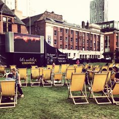 Manchester nice weather in Spinningfields outdoor cinema
