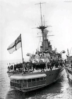 15 in 'R' class battleship HMS Revenge at Portland in 1926.  Brand new at the time of Jutland 10 years earlier, she fired the last main armament salvos of the engagement the morning after Scheer's overnight escape at a lurking Zeppelin, causing brief hope that battle had been renewed.  She served throughout WW2.