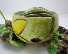 Yarn Bowl Pottery Clay Crochet Majolica by ClayLickCreekPottery, $35.00