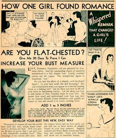 """Sexist vintage ad... """"Men don't pay attention to Evelyn because she's flat chested."""""""