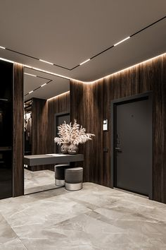 Brit Apartment on Behance Home Entrance Decor, Entrance Design, House Entrance, Apartment Interior, Apartment Design, Room Interior, Home Room Design, Living Room Designs, Modern House Design