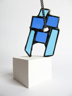 Stained glass BLUE STATEMENT PENDANT Geometric by emporiumJULIUM