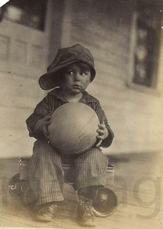 Photo, Antique, Download, Depression Era Boy with Basketball, Paper Ephemera