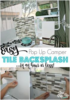 Easy Pop Up Camper Tile Backsplash - Cover an ugly stove backsplash with adhesive vinyl tiles. Its quick and simple, but makes a huge impact. Truck Camper, Camper Trailers, Travel Trailers, Shasta Trailer, Rv Travel, Popup Camper Remodel, Camper Renovation, How To Remodel A Camper, Camper Remodeling